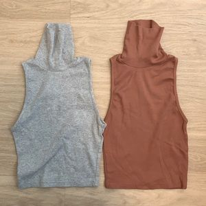 Zara Grey & Brown Mock Neck Tops
